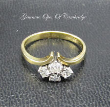Vintage 1979 4 Brilliant cut 18ct Gold  Diamond Cluster Ring Size O 3.1g 0.47ct