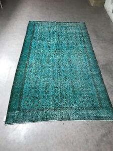 Antique Green Overdyed Turkish Carpet,Floor Bohemian Vintage Rug,Handwoven Rug