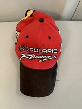 Vintage Polaris Snowmobile Racing Strapback Hat Cap  Red Yellow