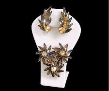 Vintage D&E Juliana Black Diamond Rhinestone 3 Flower Brooch & Earrings
