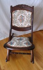 Vintage Antique Folding Wooden Rocking Chair Carved Floral Tapestry Design