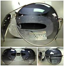 CLASSIC OVERSIZED HUGE 70s VINTAGE RETRO Style SUNGLASSES Silver Frame Blue Lens