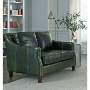 Essex Distressed Green Top Grain Leather Loveseat