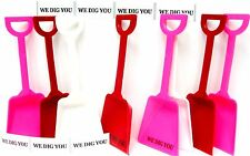 """24 """"We Dig You"""" Stickers & 8 ea Red White Pink Toy Shovels Mfg USA*"""
