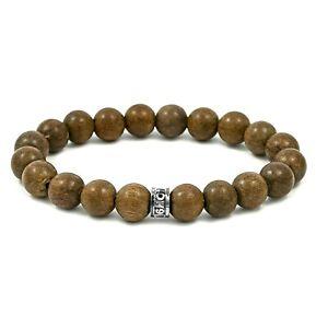 "NOV9M Graywood 10mm Beads & 925 Sterling Silver Spacer Stretch Bracelet 7"""