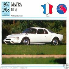 MATRA  JET VS 1967 1968  CAR VOITURE FRANCE CARTE CARD FICHE