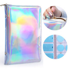 NICOLE DIARY 72 Slots Silver Holographic Stamping Plate Case Holder Nail Tools