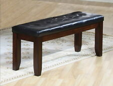 WOOD KITCHEN DINNING BENCH WITH FAUX LEATHER TUFTED SEATING