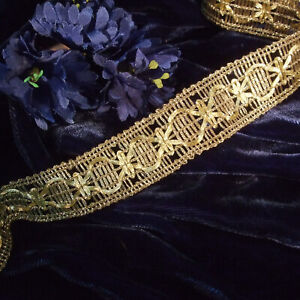 """Gold metallic lace trim in Swag design vintage embroidery braid tape 1"""" wide BTY"""