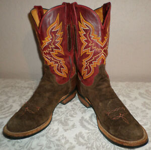 Men's 10 D Lucchese Brown Suede & Burgundy Leather Cowboy Boots EUC