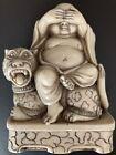 "Vintage WONY LTD Italy carved resin Buddha sitting on a tiger figurine 4"" x 3"""
