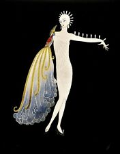 Erte Fair Skinned WOMAN DIVA I Peacock Bird Vintage MATTED 1987 ART DECO Print