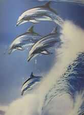 Poster Print 3d picture of four surfing dolphins in a big wave, for Home F103