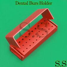 30 Holes Dental Aluminum Bur Burs Holder Box Autoclave Red Color DN-2085