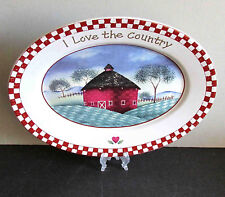 """Vintage Oval Platter COUNTRY LIFE """"I Love The Country"""" Stoneware 12x9""""  FREE SH"""