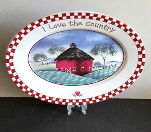 "Vintage Oval Platter COUNTRY LIFE ""I Love The Country"" Stoneware 12x9""  FREE SH"