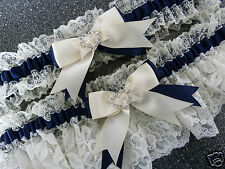 WEDDING GARTER SET BRIDAL FRENCH SATIN LACE ivory and navy blue heart diamante