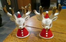 Vintage Holt Howard ceramic REINDEER Christmas candle holders pair deer antlers