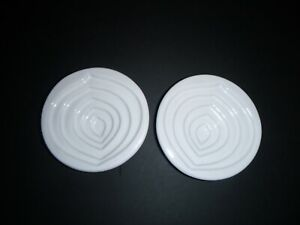 Vintage Pair Mary Judge Grazie Deruta Leaf White Olive Oil Dipping Dishes Bowls