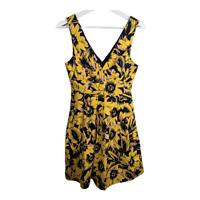 J Crew Womens Fit and Flare Dress Sleeveless A Line V Neck Flowers Pleat Size 00