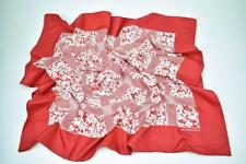 "Authentic BURBERRY: Red, Floral & Logo, 100% Silk Scarf Foulard 34"" x 34"""