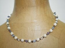 Faceted Blue Purple White Glass Crystal Beads Freshwater Pearls Choker Necklace