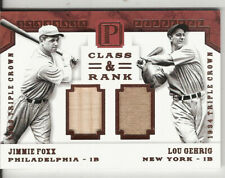 2016 PANTHEON BASEBALL DUAL GAME USED BAT/JERSEY LOU GEHRIG & JIMMIE FOXX 1/3
