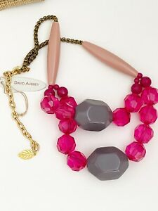 DAVID AUBREY FUSHIA FACETED BEADED NECKLACE WITH GREY BEADED STATEMENT NECKLACE