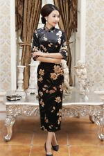Luxurious Gold Flowers Velvet Black Chinese Long Dress Cheongsam Qipao lcdress42