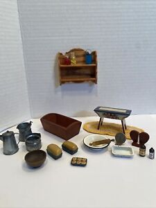 Vintage Artisan Primitive Lot Some Signed Dollhouse Miniature 1:12