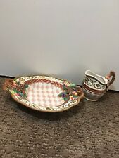 Fitz And Floyd Classics Holiday Pinecones Bowl With Matching Carafe
