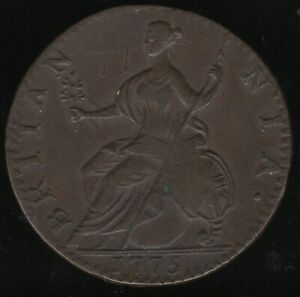 1775 George III Contemporary Counterfeit Halfpenny Coin | Pennies2Pounds
