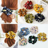 Fashion Elastic Printing Spring Flower Ponytail Holder Hair Ties Rope Scrunchie