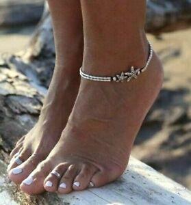 Fußkettchen Fußkette silber schwarz Perlen Seestern  Kette für Fuß NEU