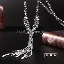 Fashion Women Jewelry Long Tassel Sweater Chain Glass Crystal Beads Necklace