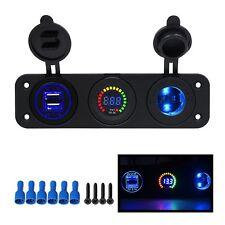 12V Car Cigarette Lighter Outlet Socket Panel Auto Dual USB Charger Voltmeter