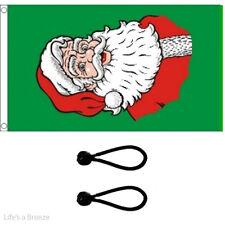 Christmas Green Santa Flag 5 x 3 ft Poles Or Windsocks.With FREE BALL TIES