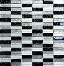 Black Silver White Glitter Glass Wall Border Splashback Mosaic Tile Sheet MT0028