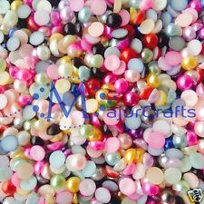 1800pcs couleurs mélangées dos plat 1.5 mm demi rond en résine perles nail art gems C65