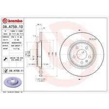 BREMBO 2x Bremsscheiben Voll beschichtet 08.A759.11