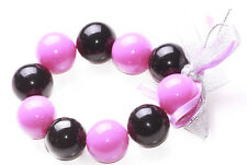 Delightful -pink & Black Ball/Silver Ribbon Bow & Stretchable Bracelet(Zx298)