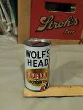 Vtg Promotional Coin Bank Cans ~ Wolf's Head Oil + Rival Dog Food ~ Retro USA ~