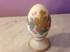 "Fenton Hand painted  3.5"" Egg on Stand Paperweight   g6"