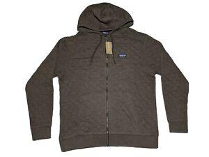 NWT Patagonia Organic Cotton Quilt Hoodie Full Zip Mens Large Brown