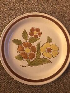 1970s Stoneware, Japan, RIVERCHASE 8 Dinner Plates, Rare Vintage Find, FINE Cond