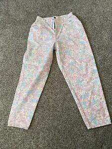 """Vintage Women's Floral Print Jeans By Hunt Club Pastel Colors 29""""X 32"""" Size 14"""