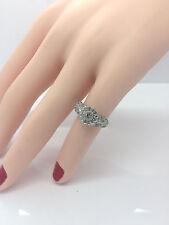 Ladies 14K White Gold Halo Nice 25 Round Diamonds Engagement Ring Band 1/2 CT