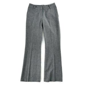 Monsoon Size 10 Blue Grey Wool Blend Wide Leg Pinstripe Trousers Office Work