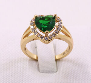 New Pretty Jewellery Natural 2.85ct Emerald 14k Solid Yellow Gold Ring Size 8.5#