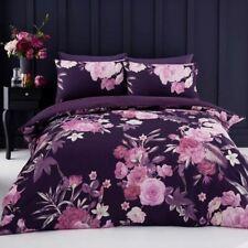 Flora Parure Housse de Couette King Size Violet Lit Fleurs Roses - 2 IN 1 Design
